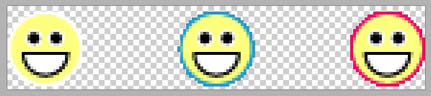 Three matted smiley sprites in a row